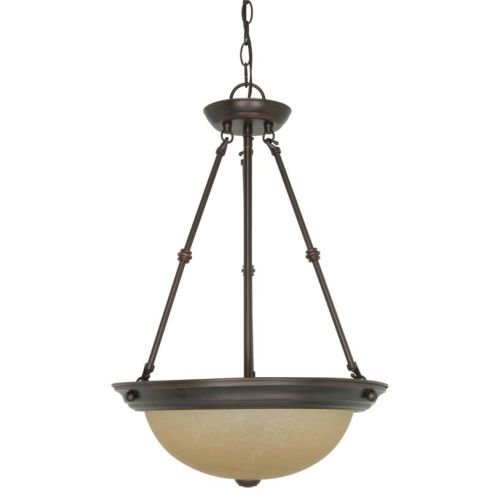 Nuvo Lighting 60/3112 Empire 3-Light 15-Inch Bowl Pendant with Champagne Glass, Mahogany Bronze (3 Light Inverted Bowl Pendant)