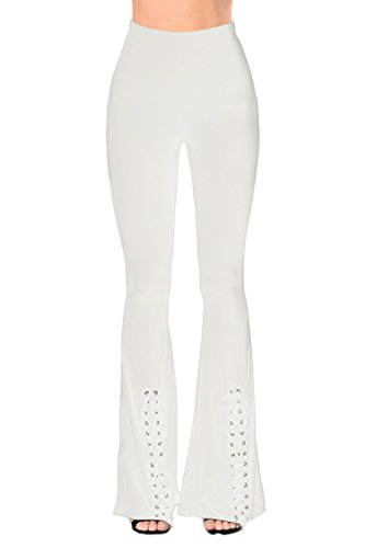 LaSuiveur Sexy Solid Color Cotton Flared Bell Bottom Pants Yoga Leggings, White, X-Large -