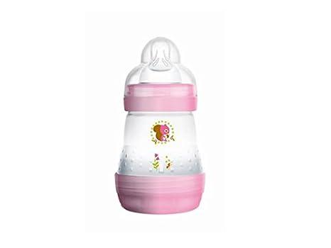 Mam - Biberón anticólicos (160 ml, 0-6 meses, 1 caudal) Transparent pink