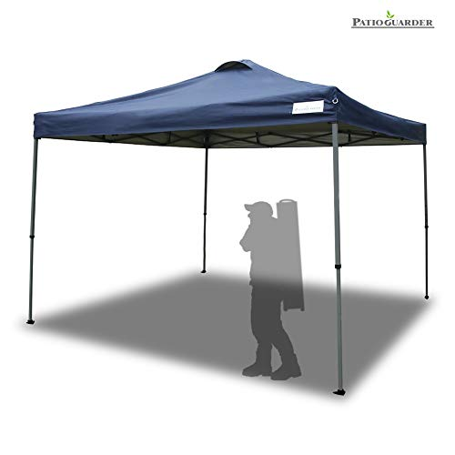 PATIO GUARDER 10'x10' Instant Folding Canopy Tent Outdoor Pop up Portable Canopy with Wheeled Carry Bag, 4 x Ropes & 8 x Stakes, Deep Blue
