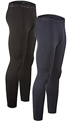 DEVOPS Men's 2 Pack Thermal Heat-Chain Compression Baselayer Long Johns Pants (X-Large, Black/Navy) (Underwear Men Long)