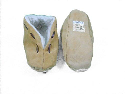 Echtleder / Veloursleder Hausschuhe Mokassins mit Schurwoll-Futter für Kinder in beige, Größe 16-34 (E)