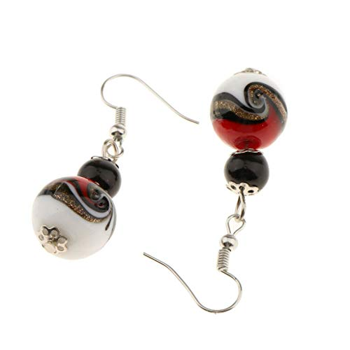 (Cute Vintage Round Glass Ball Dangle Fish Hook Piercing Flower Cap Earrings Necklace Jewelry Crafting Key Chain Bracelet Pendants Accessories Best| Color - Red)