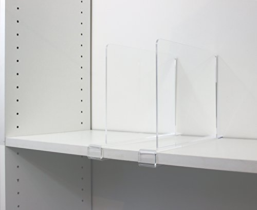 Clear Acrylic Shelf Dividers for Closets, Wood Shelves, Kitchen Cabinets, and Libraries. Pack of 2. Closet Shelf Separators, Closet Organizers by Clearly Organized (Image #7)