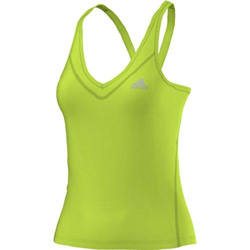 (adidas Performance Women's Techfit Tank Top, Semi Solar Slime/Matte Silver, Large)