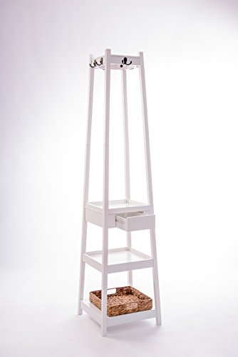 6 Hooks Coat Rack Stand with 3 Tier and 1 Drawer and 1 Basket in White