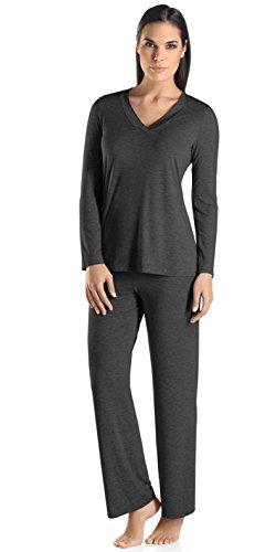 Hanro Women's Champagne Long Sleeve Pajama, Caviar, Medium