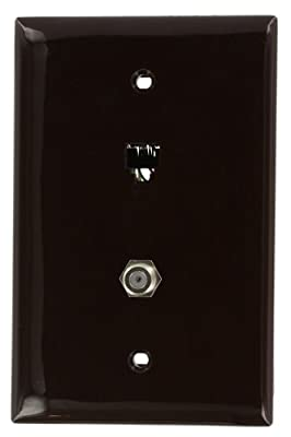 Leviton Midsize Telephone/Video Wall Jack, 6P4C X F