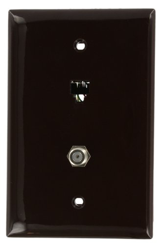 Leviton 40539-CMB Midsize Telephone/Video Wall Jack, 6P4C X F, Brown