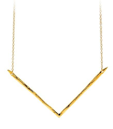 gorjana Gold Plated Vista Wide Necklace (Yochi Silver Necklace)