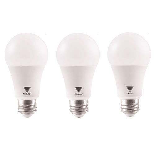 TriGlow 100 Watt Equivalent A19 LED Bulbs, 5000K (Daylight White Color), 1500 Lumens and E26 Base, UL Listed, 3-Pack