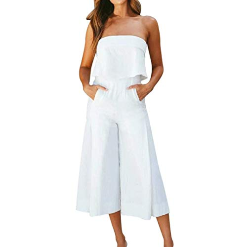 ABASSKY Jumpsuit for Women,Summer Lady Strappy Soild Long Trouser Playsuits Jumpsuit Rompers Holiday (White, L) -