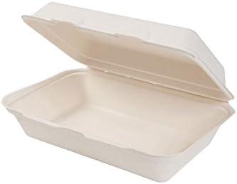 Green Box 500 x Bio desechables de comida Bandeja con Hinged de ...