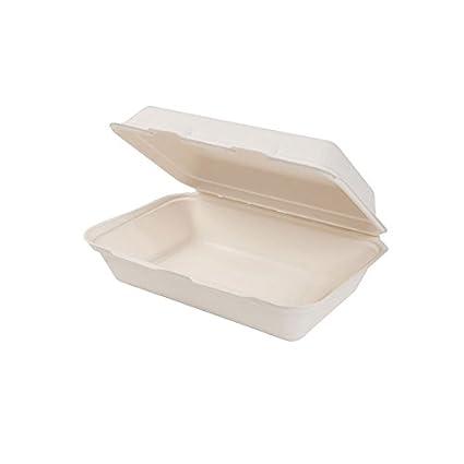Green Box 500 x Bio desechables de comida Bandeja con Hinged de Lid fabricado Sugarcane,