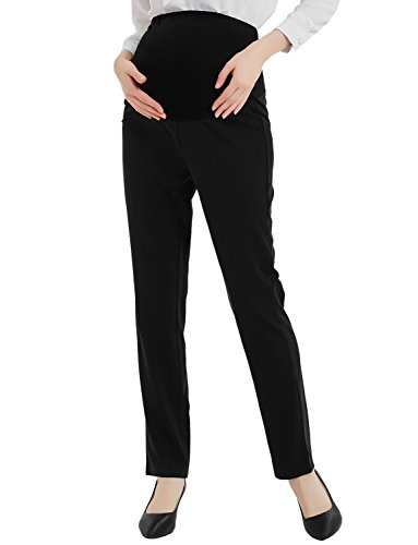 Maternity Dress Pants Flattering Work Long Pants Stretch Slim Fitted Trousers Black M