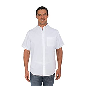 The Best Shirt Ever - Stainproof, Waterproof, Sweat-wicking Men's Button Down Short Sleeve (Large, White)