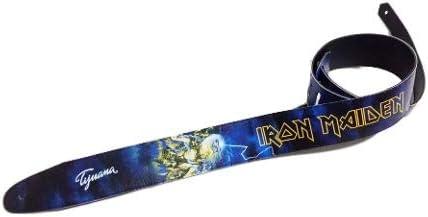 Correa para guitarra Iron Maiden, correa para bajo, tamaño ajustable, cinturón reciclado de cuero ecológico, unisex Eddie Fear Of The Dark