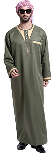 - Ababalaya Men's Long Sleeve Scoop Neck Patchwork Muslim Thobes Dishdasha Easter Wear, 802Army Green, M