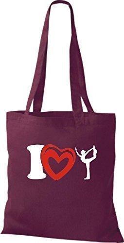ShirtInStyle La bolsa de asas Bolsa de algodón I Love Yogo Yoga Sport Gimnástico - fucsia Burdeos
