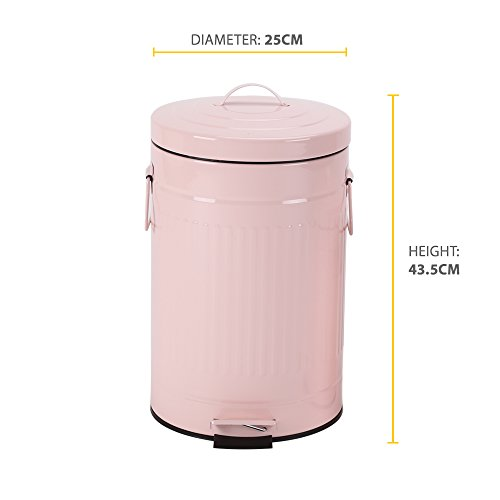 Kitchen Trash Can with Lid, Pink Bathroom Garbage Can, Round Waste Bin Soft Close, Retro Vintage Metal Garbage Bin For Office Foot Pedal Step, 12 Liter/3 Gallon, Glossy Pink by mingol (Image #5)