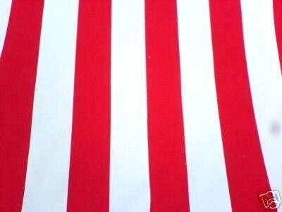 Cotton Fabric 6cm Red Stripe On White New Off The Roll Per