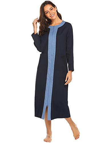 (Ekouaer Women's Long Robe Zipper- Front Long Sleeve Loungewear with 2 Pockets Long Bathrobe Nightshirts Robe S-XXL)
