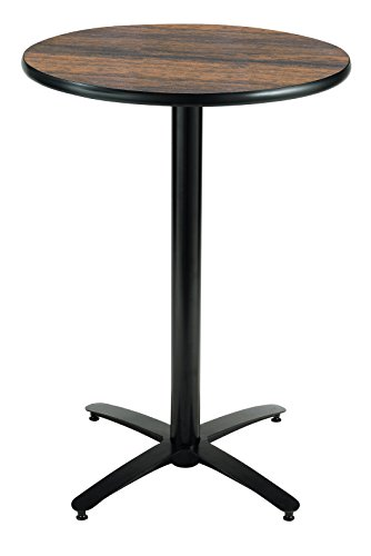 KFI Seating Round Bar Height Pedestal Table with Arched X Base, Commercial Grade, 30-Inch, Walnut Laminate, Made in the USA - Laminate Pub Table