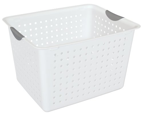 Deep Basket (Sterilite 16288006 Deep Ultra Basket, White Basket w/ Titanium Inserts, 6-Pack)