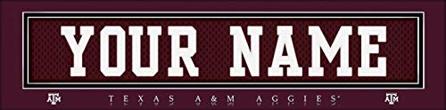 (Texas A&M Aggies College Jersey Nameplate Wall Print, Personalized Gift, Boy's Room Decor 6x22 Unframed Poster)