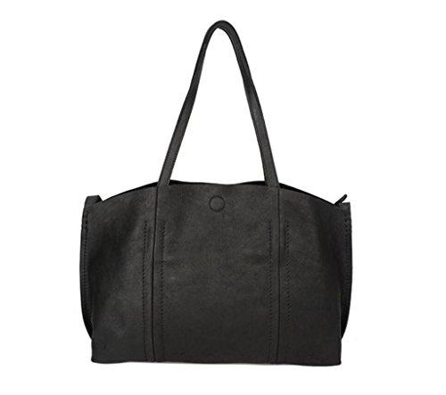 SHOUTIBAO Bolso de Cuero Hecho a Mano/Bandolera Retro/Elegante Bandolera, Gran Capacidad, Compras/Viajes, Shiny Black shiny black