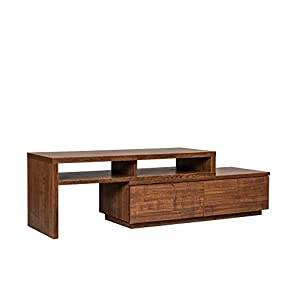 Amazon Marque – Movian Meuble TV extensible et modulable avec 2 tiroirs – TV Board SAB-100 – Chêne brun, L100-185 x P38…