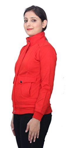 Romano - Sweat-shirt - Veste - Uni - Col Chemise Classique - Manches Longues - Femme Rouge Rouge