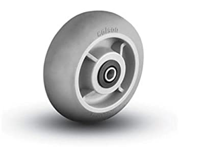 "Colson Round Tread 6"" x 2"" Soft Gray Wheel with 3/4"" Axle ID Roller Bearing"