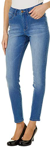 - Royalty by YMI Petite Slim Fit No Muffin Top Ankle Jeans 10P Light Denim Blue