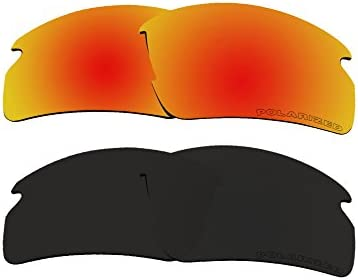 51bd75d0d5 BVANQ 2 Pairs Polarized Replacement Lenses Fire Red   Black for Oakley Flak  2.0 (OO9295) Sunglasses