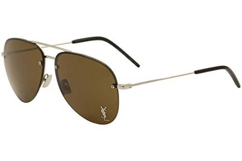 (Saint Laurent CLASSIC 11 M M 11 002 SILVER / BROWN / SILVER Sunglasses)