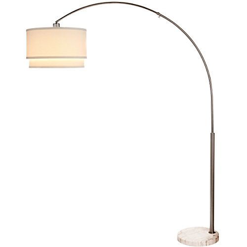 Brightech Mason LED Floor Lamp- Modern Arc Lamp with Hanging Shade & Marble Base– Tall Pole Standing Industrial, Uplight Lamp with Ambient Lighting for Living Room Office Dorm or Bedroom– Satin Nickel by Brightech