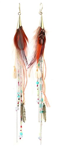 Feather Women Earrings Long Tassel Bohemian Natural Crystal Beads Jewelry Wedding Accessories (Color)