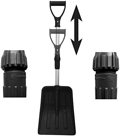 MTB Portable Snow Shovel for Car, Pack of 2 Sets, Black, with Extendable Aluminum Handle