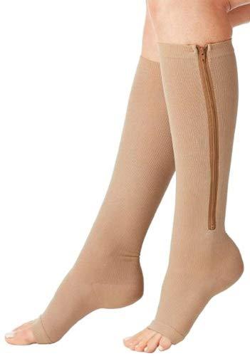Leg Beige Right Med Toe (Aniwon Compression Socks Toe Open Leg Support Stocking Knee High Socks with Zipper,Beige,Medium)