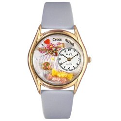 Whimsical Watches Women's C0440009 Classic Gold Cross Stitch Baby Blue Leather And Goldtone Watch