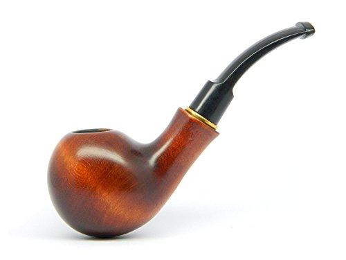 Smooth Pipe (Dr.Watson - Tobacco Smoking Pipe - The BALL - Smooth, Hand Made, Pear Wood (9mm filter) + Branded Pouch)