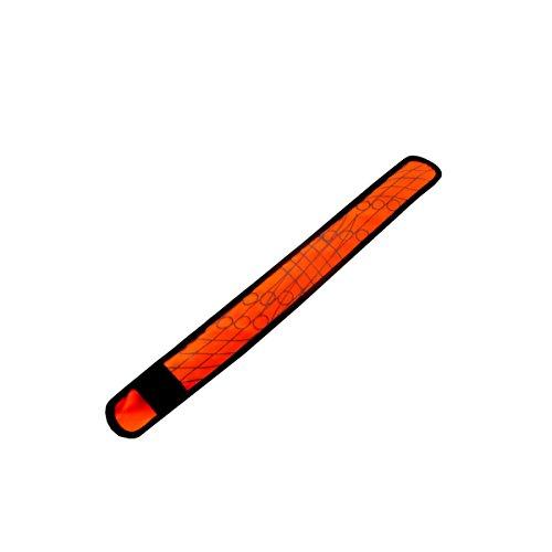 (Glovion LED Light up Slap Wrap Bracelet LED Armband Orange Armband with Reflective Pattern and Red Leds)