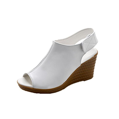 Ecurson Women Spring Summer Soft Sole Shoes Sandals Peep Toe Wedge Sandals (US:6.5(RU/EU/CN:38), White)