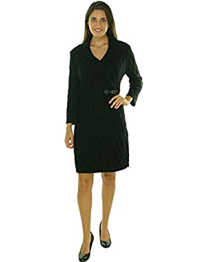 Calvin Klein Women's Belted Cowl Neck Cable Sweater Dress