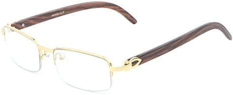 Debonair Slim Half Rim Rectangular Metal & Wood Eyeglasses / Clear Lens Sunglasses - Frames