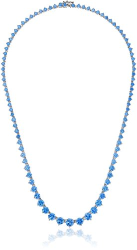 (Platinum Plated Sterling Silver Swarovski Zirconia Artic Blue Round-Cut Graduated Riviera Necklace, 17