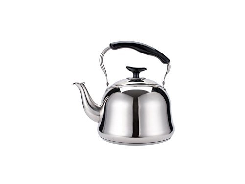 Home N Kitchenware Collection Premium Quality 2.0 Liter Stainless Steel TeaKettle Teapot, Capsule Bottom, Gas Electric Compatible, Chrome/Mirror Finish