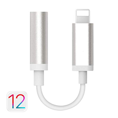 [Apple MFi Certified] Lightning to 3.5mm Headphone Jack Adapter, Arparna Connector AUX Female Audio Earphone Stereo Cable for iPhone Xs Max XR X 8 7 Plus, Support iOS 10.3 11 IOS12 (Silver) - Earphone Stereo Adapter