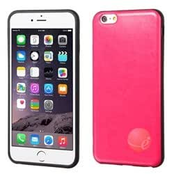 MYBAT Hot Pink Leather Backing Candy Skin Cover compatible with Apple iPhone 6 Plus 5.5''